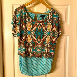 Short Sleeve Le Chateau Loose Fit Ruched Waist